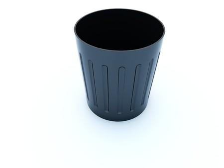crumple: Empty black bin icon isolated on white