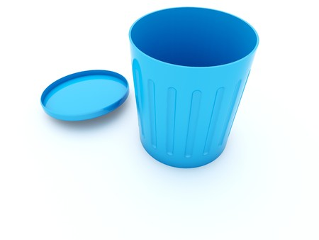 poubelle bleue: Ic�ne vide bin bleu isol�e sur blanc  Banque d'images