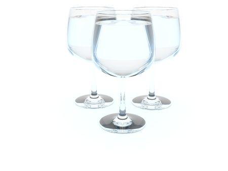 bocal: Three wine bocal isolated on white