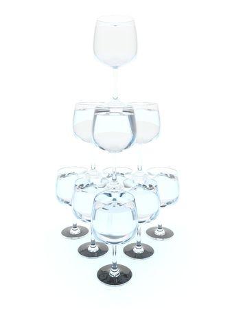 bocal: Pyramid of wine bocal isolated on white