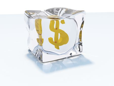 frozen solid: Dollar frozen in the ice cube Stock Photo