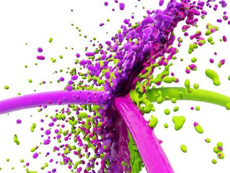 Green,magenta and violet splash isolated on white photo