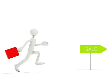 Running man with bag isolated on white photo