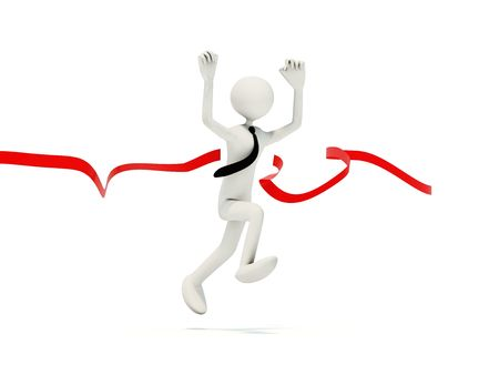 Runing man with ribbon isolated on white photo