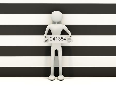 Mug shot man with number Stock Photo - 5083441