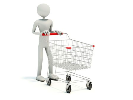 castors: Buyer with empty shopping cart isolated on white