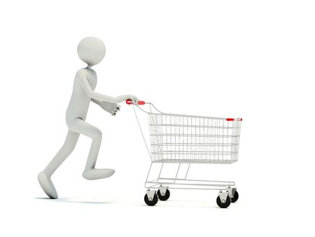 Buyer with empty shopping cart isolated on white photo