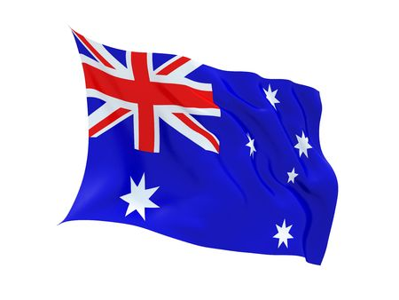 fluttering: Fluttering 3d Australian flag isolated on white