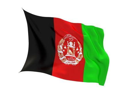 fluttering: Fluttering 3d flag of Afganistan isolated on white