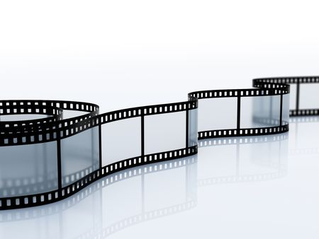 35mm empty film srip isolated on white Stock Photo