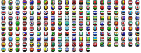 193 3d icons flags of the world Stock Photo