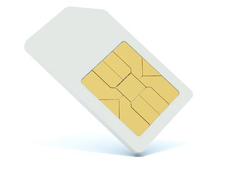sim: 3d sim card isolated on white Stock Photo