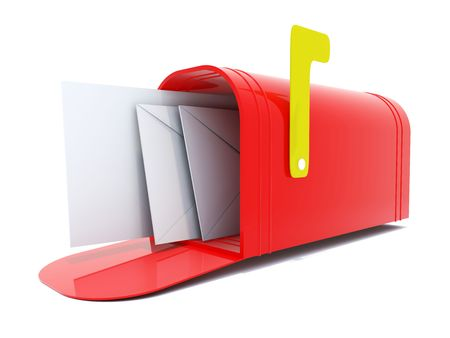 Full red mailbox isolated on white Stock Photo