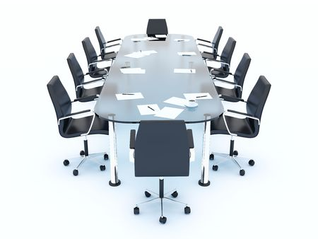 Empty conference table isolated on white Stock Photo