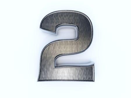 Metallic digit two isolated on white photo