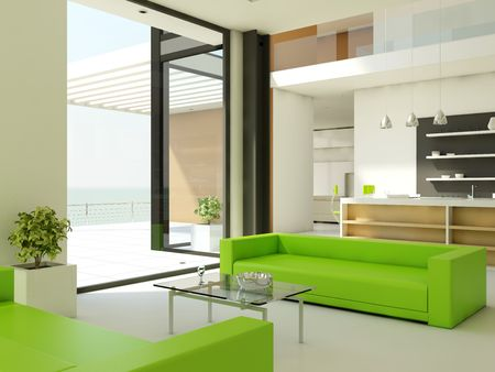 Light interior design with white walls and green couch photo