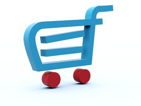 icon shopping cart: Shopping Cart-Symbol rot blau Aoa-Serie