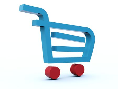 castors: Shopping cart icon from blue a�� red series