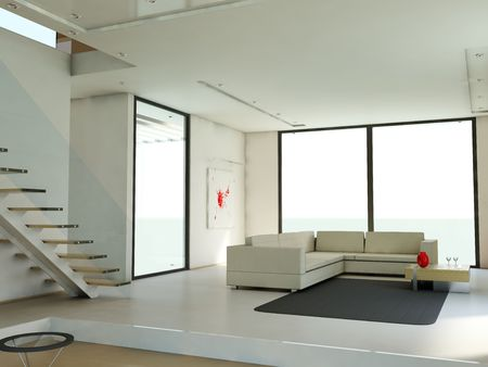 Empty apartment with white walls and staircase photo