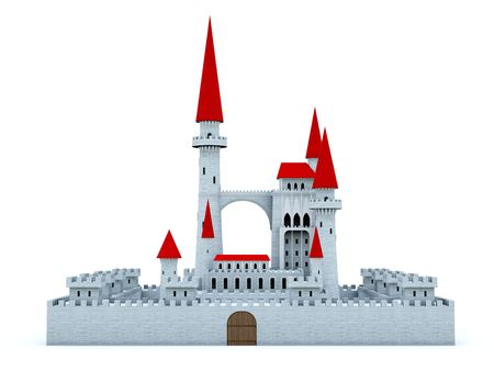Castle with red roof isolated on white photo