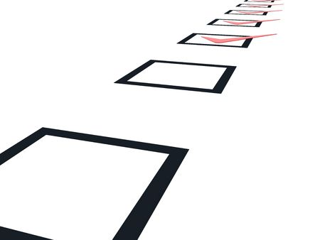 Checklist with red marks isolated on white photo