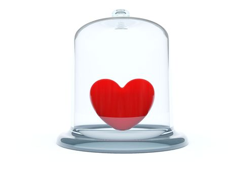 heart under: Heart under glass bell isolated on white Stock Photo