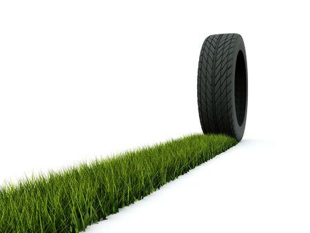tyre tracks: Los neum�ticos con pista de hierba aislado en blanco Foto de archivo