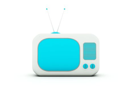 crt: Old TV isolated on white. Blue and grey series