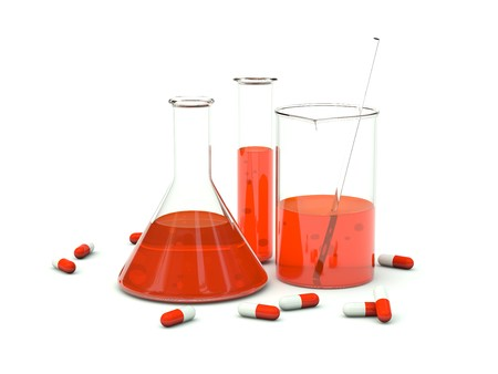 test probe: Chemical glassware with pills. Red series