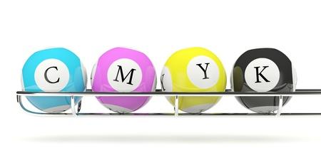 CMYK lottery balls isolated on white photo
