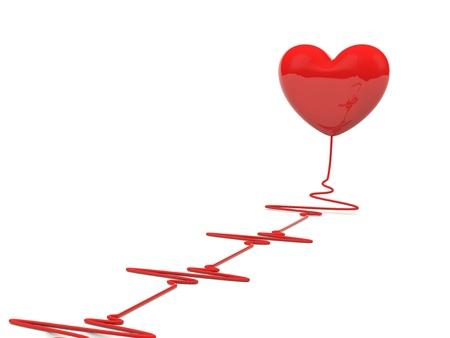 tachycardia: Coraz�n con latidos aislados en blanco Foto de archivo