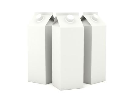 Milk cartons isolated on white background photo