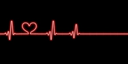 palpitation: Heartbeat with heart symbol isolated on black background