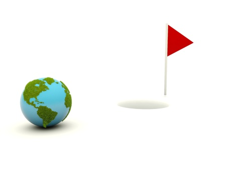 Earth going to golf hole photo