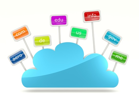 Cloud icon with signs of domain names Stock Photo - 11915507