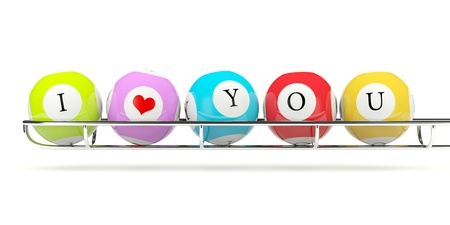 Lottery balls with sign I love you photo