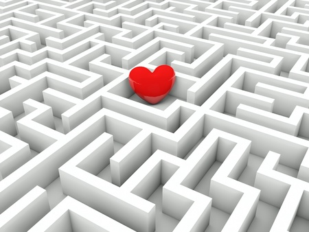 Heart in the middle of the maze Stock Photo