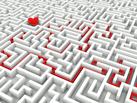 Heart in the middle of the maze with path to it photo