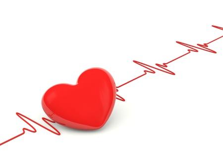 tachycardia: Coraz�n con latidos del coraz�n aislado en blanco Foto de archivo