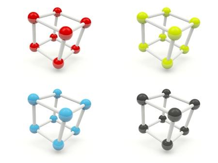 Shiny molecules isolated on white photo