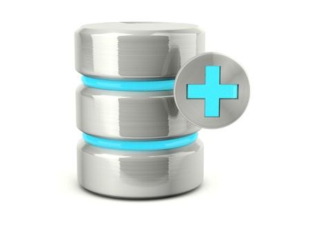Metallic add data base icon isolated on white photo