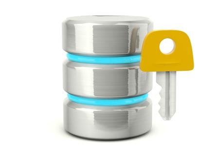 Metallic access data base icon isolated on white Stock Photo - 12447383