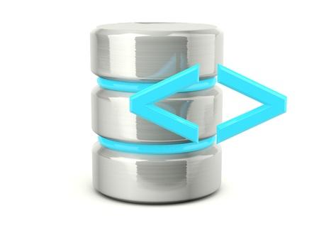 Metallic execute data base icon isolated on white Stock Photo - 12447389
