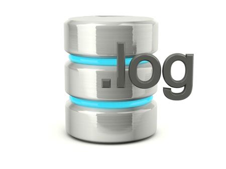 Metallic log data base icon isolated on white Stock Photo - 12447381