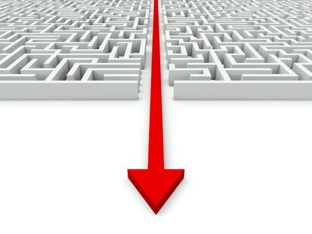 Maze with red arrow through it photo