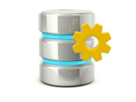 Metallic data base settings icon isolated on white Stock Photo - 12447524
