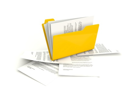 Folder with files isolated on white Stock Photo