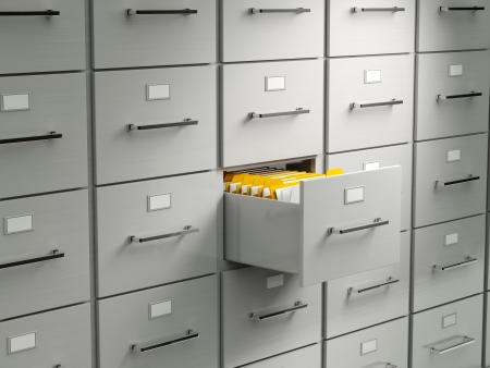 drawer: Archive cabinet with open drawer Stock Photo