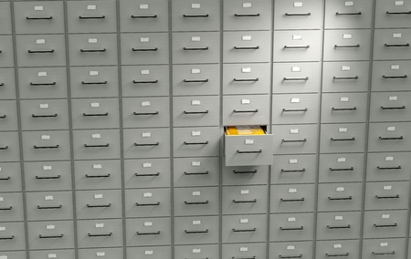 data storage: Archive cabinet with open drawer Stock Photo