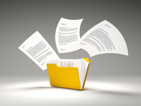 Orange folder with files Stock Photo - 12764447